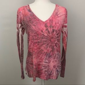 Prana Burnout Long Sleeve T Shirt Blouse Pink EUC